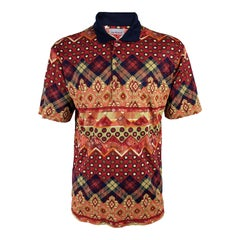 Cacharel Vintage Mens Bold Patterned Polo Shirt, 1980s
