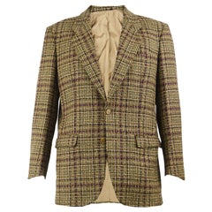 Cacharel Vintage Men's French Pure Wool Brown Tweed Checked Sport Coat Blazer