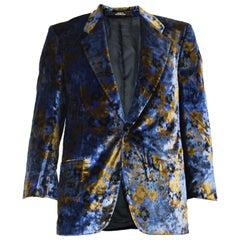 Cacharel Vintage Mens Printed Velvet Made in Switzerland Evening Dinner Jacket