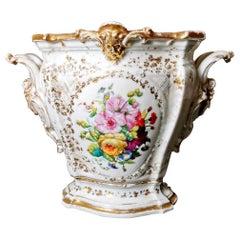 Cachepot Porcelain De Paris Hand decorated Napoleon III