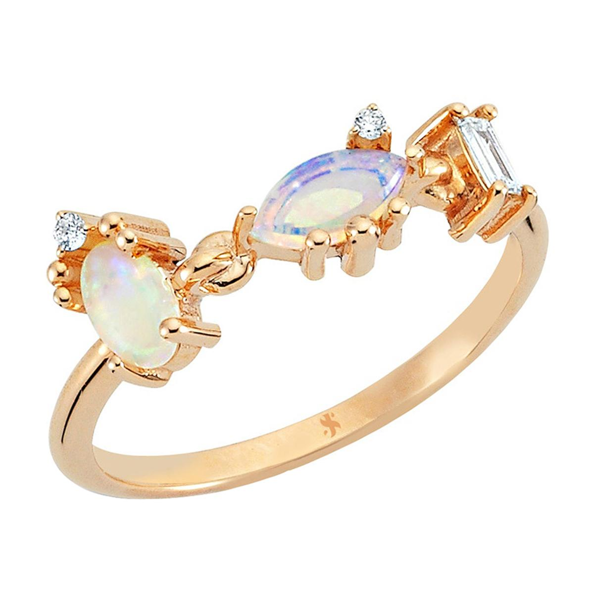 Cacia Ring in 14k Rose Gold with White Opal & White and Baguette Diamond