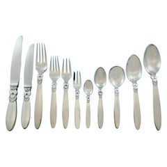 Cactus by Georg Jensen Danish Sterling Silver Flatware Set for 12 Service 132 Pc