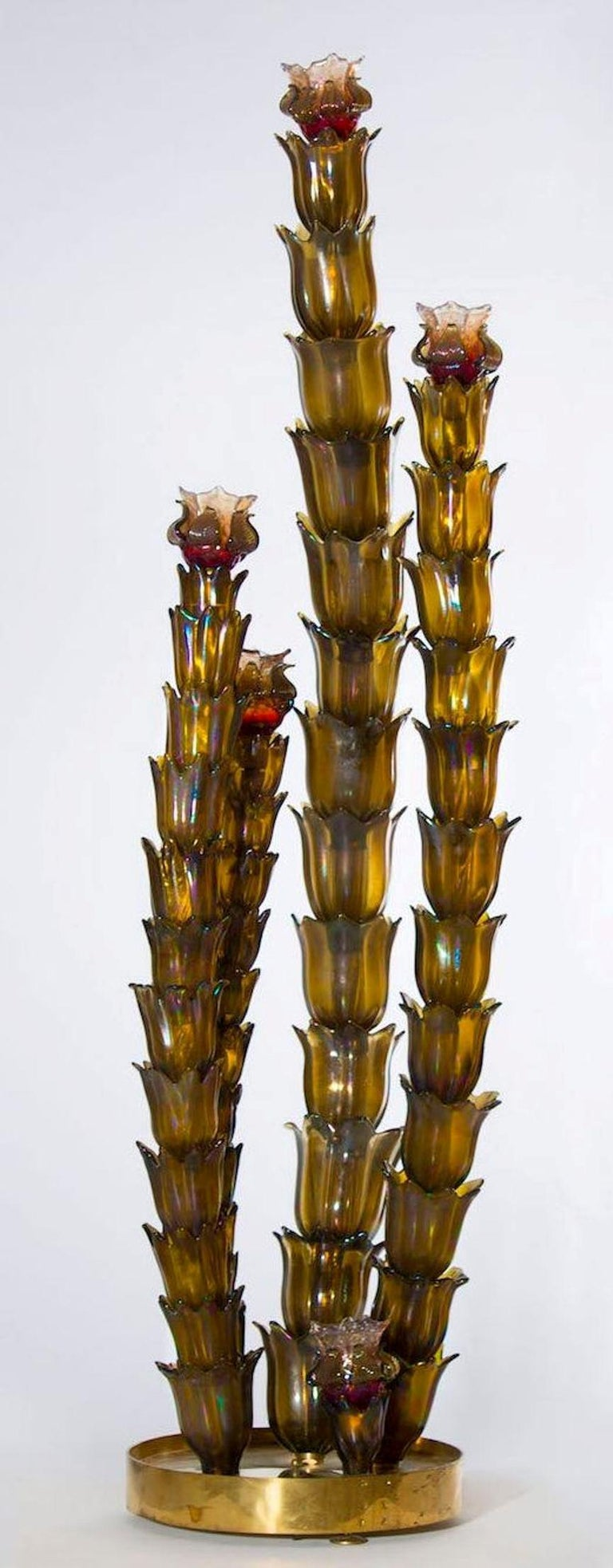 Cactus floor lamp in the style of Napoleone Martinuzzi, Murano, (Italy), circa 1950s.