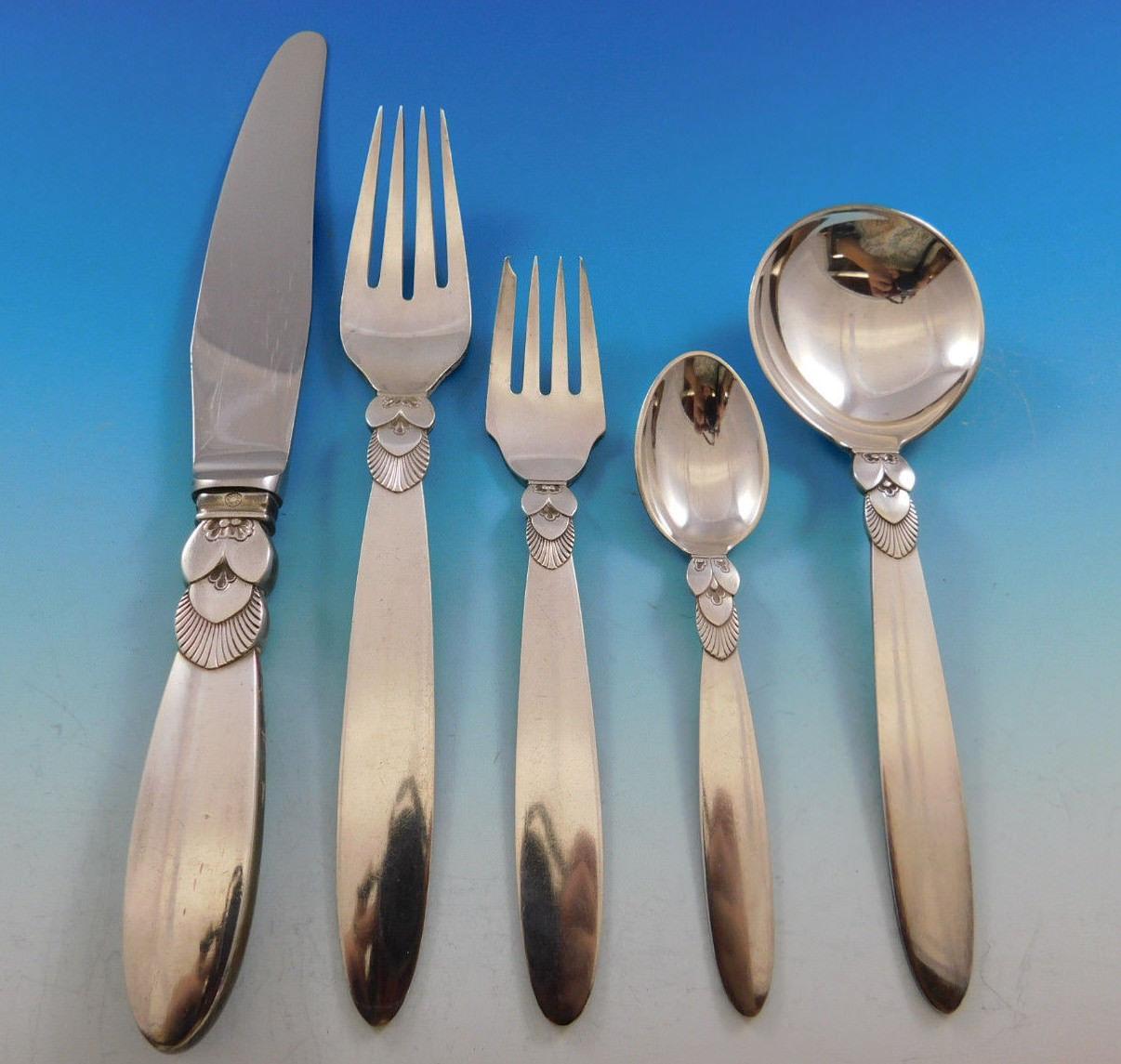 "Cactus by Georg Jensen Sterling Silver Salad Fork 4-Tine 5 3//4/"""