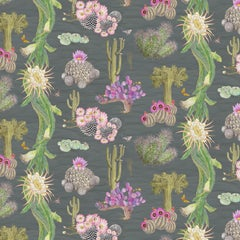 Cactus Mexicanos in Carbon Botanical Wallpaper