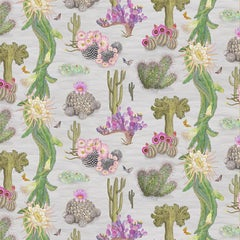 Cactus Mexicanos in Dove Botanical Wallpaper