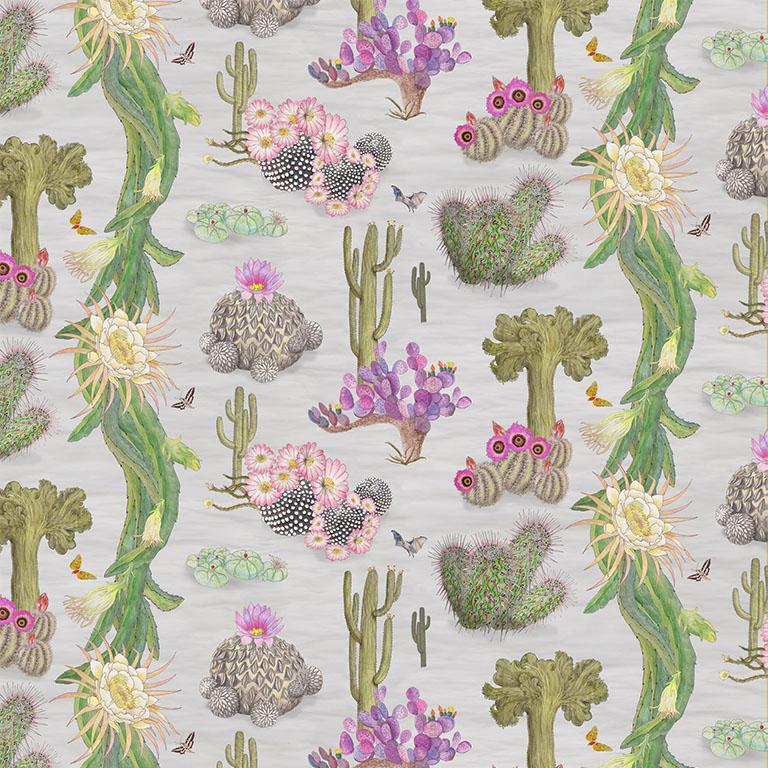 Cactus Mexicanos in Dove Botanical Wallpaper For Sale