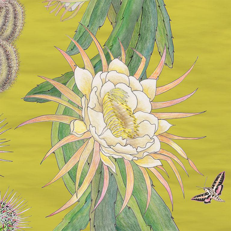 Cactus Mexicanos in Limon Botanical Wallpaper In New Condition For Sale In Kent, GB