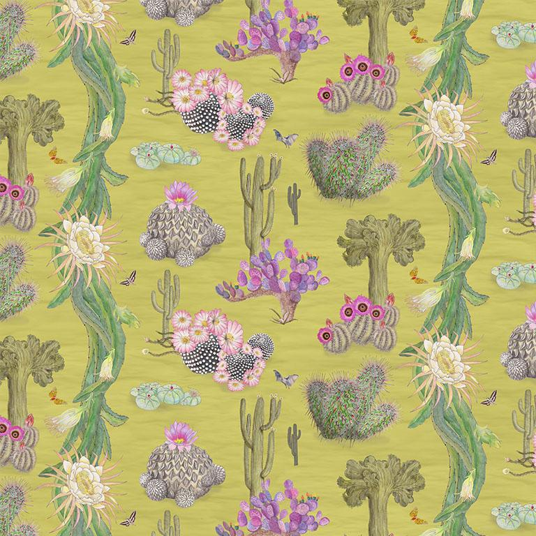 Cactus Mexicanos in Limon Botanical Wallpaper For Sale