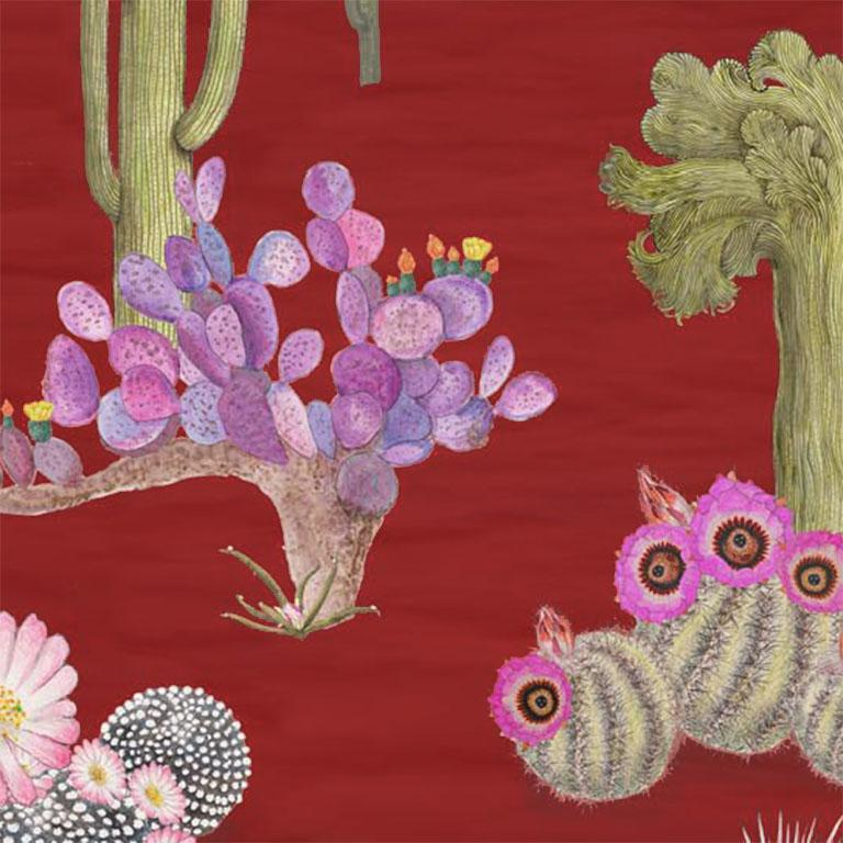 English Cactus Mexicanos in Sangre Botanical Wallpaper For Sale