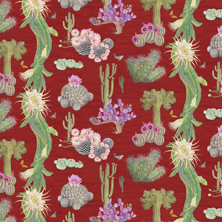 Cactus Mexicanos in Sangre Botanical Wallpaper For Sale
