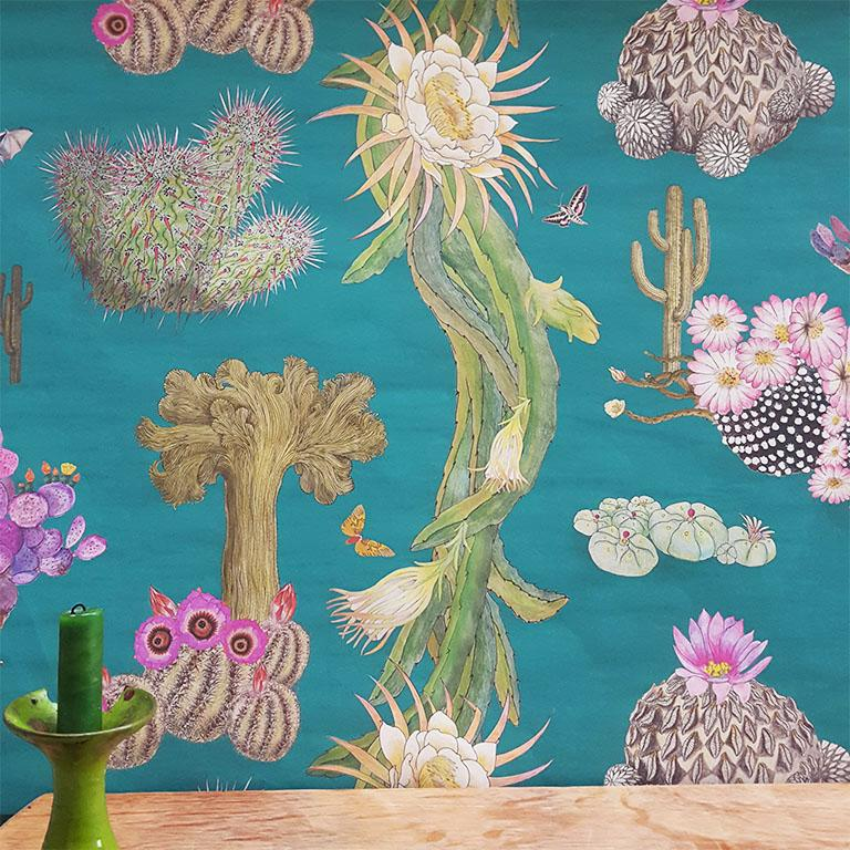 Cactus Mexicanos in Turquoise Botanical Wallpaper In New Condition For Sale In Kent, GB