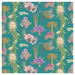 Cactus Mexicanos in Turquoise Botanical Wallpaper