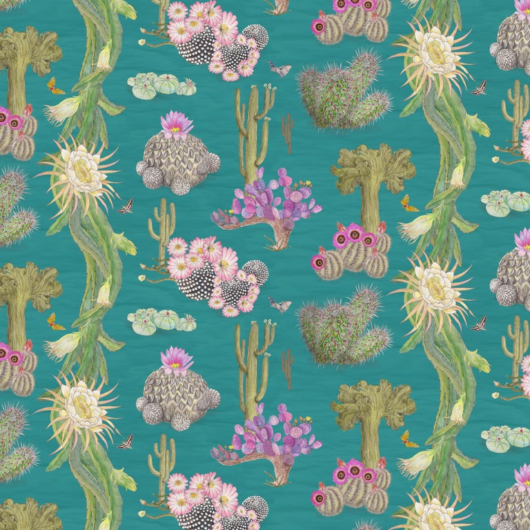 Cactus Mexicanos in Turquoise Botanical Wallpaper For Sale