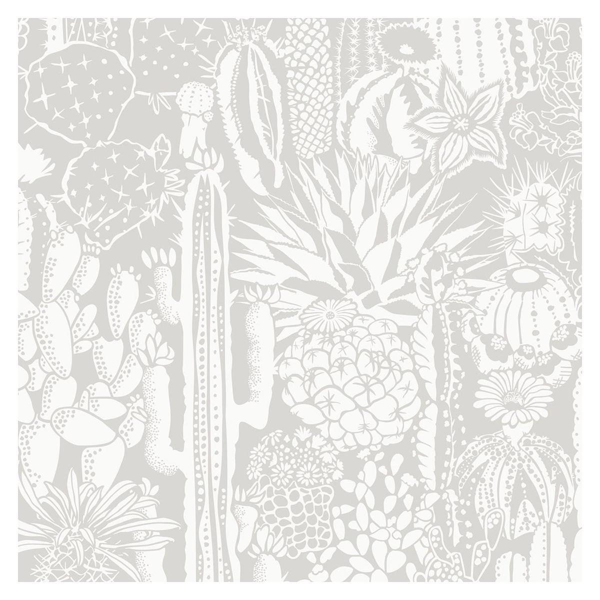 Cactus Spirit Designer Wallpaper in Shadow 'White and Soft Grey'