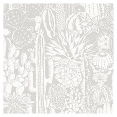 Cactus Spirit Designer Wallpaper in Shadow 'White and Soft Grey'