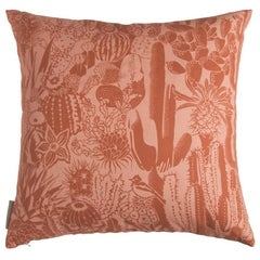 Cactus Spirit Pillow in Color Isla 'Rust Orange and Salmon Pink'