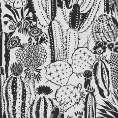 Cactus Spirit Screen Printed Wallpaper in Color Charcoal 'Black on White'