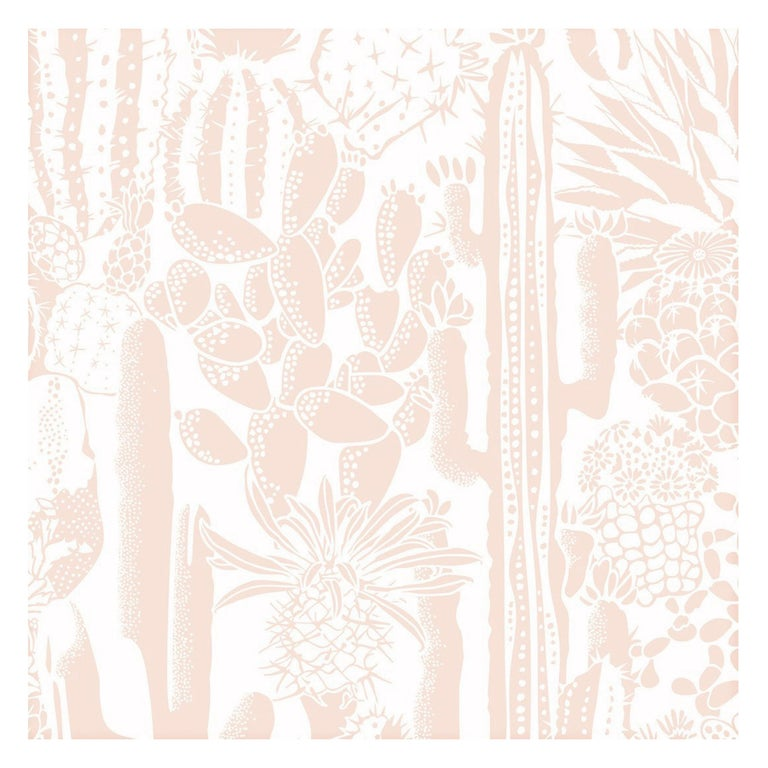 Cactus Spirit Screen Printed Wallpaper in Color Fuzz 'Champagne Pink on White' For Sale