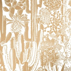 Cactus Spirit Screen Printed Wallpaper in Sphinx 'Metallic Gold on White'