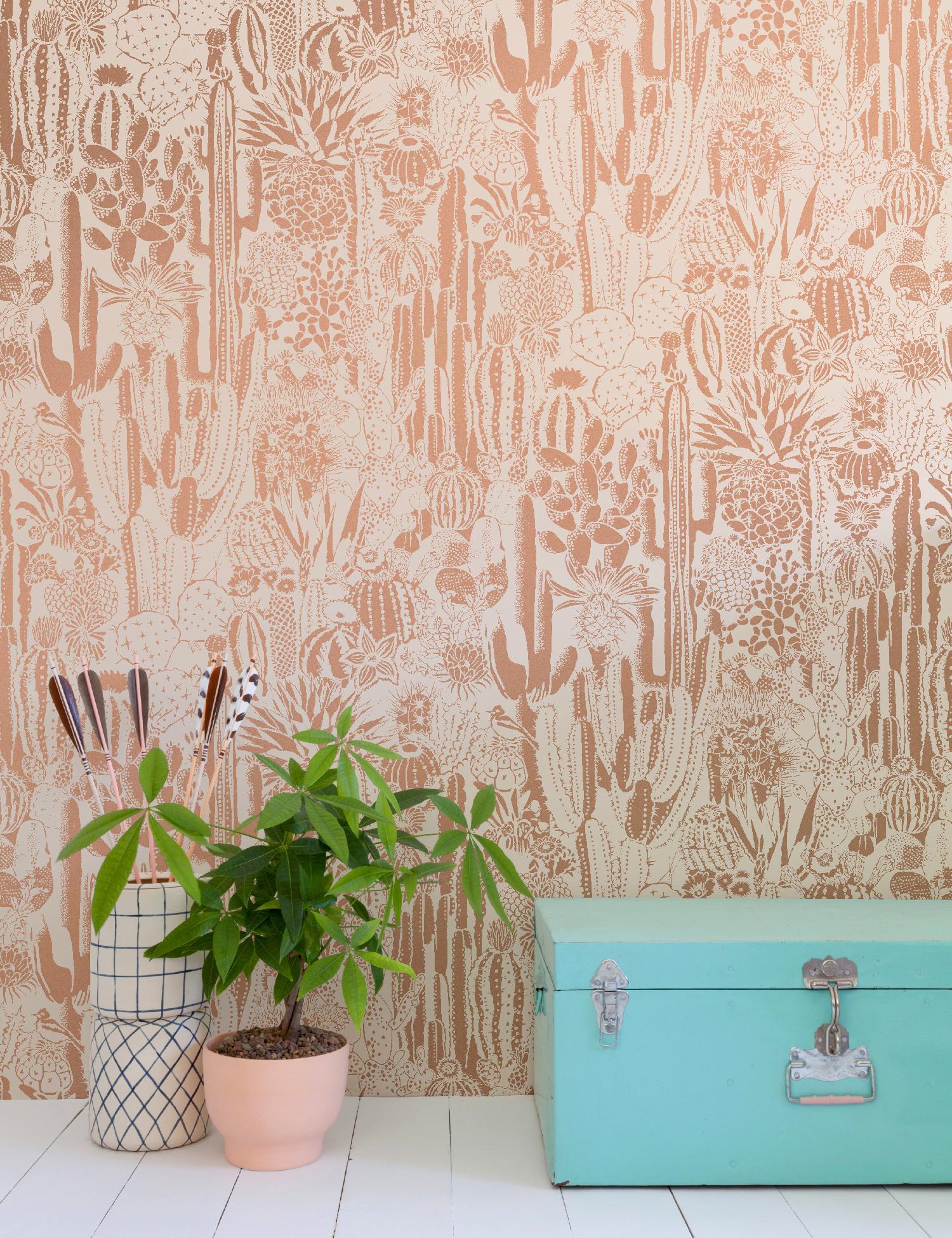 Cactus Spirit Screen Printed Wallpaper In Rose Gold Metallic