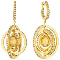 Cadar Duality Earrings, 18 Karat Yellow Gold and White Diamonds