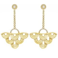 CADAR Duet Earrings, 18K Yellow Gold and 1.51cttw White Diamonds