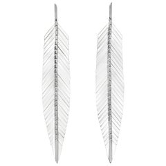 Cadar Feather Drop Earrings, 18 Karat White Gold, Large