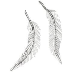 Cadar Feather Drop Earrings, 18 Karat White Gold, Medium