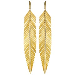 CADAR Feather Drop Earrings, 18K Yellow Gold - Large