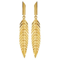 CADAR Feather Drop Earrings, 18K Yellow Gold - Small