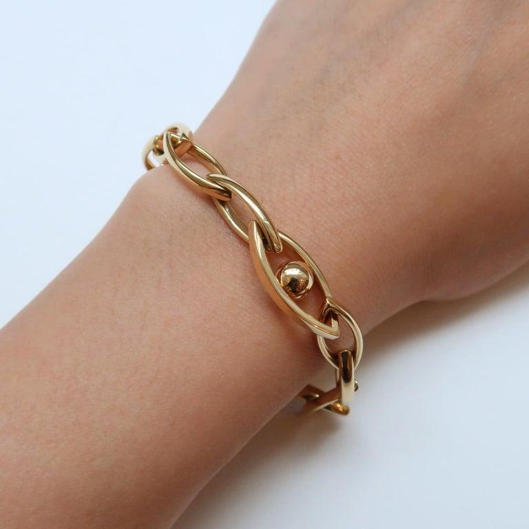 Modern CADAR Reflections Chain Bracelet, 18 Karat Yellow Gold and White Diamond For Sale