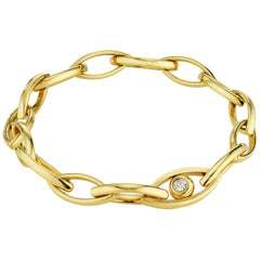 CADAR Reflections Chain Bracelet, 18 Karat Yellow Gold and White Diamond
