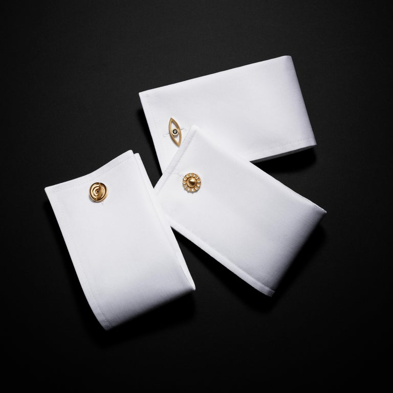 Modern Cadar Reflections Cufflink, 18 Karat Matte Yellow Gold and Black Diamonds For Sale