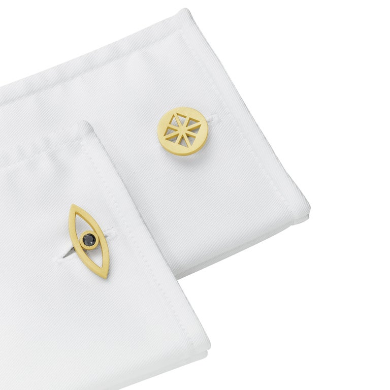 Cadar Reflections Cufflink, 18 Karat Matte Yellow Gold and Black Diamonds For Sale