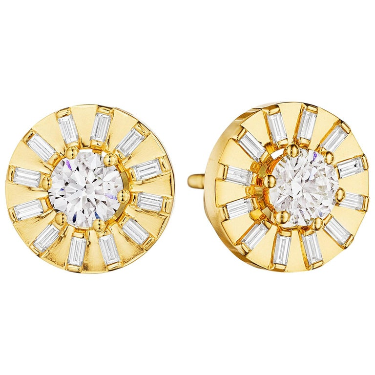 a5600ae66 CADAR Sole Stud Earrings, 18K Yellow Gold and White Diamonds at 1stdibs
