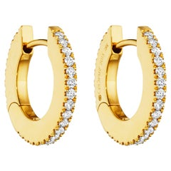 Cadar Solo Hoop, 18 Karat Yellow Gold and White Diamonds, Small
