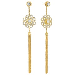 Cadar Trio Earrings, 18 Karat Yellow Gold and White Diamonds