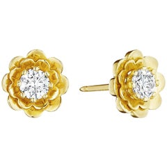 CADAR Trio Stud Earrings, 18K Yellow Gold and White Diamond