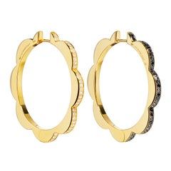 CADAR Triplet Hoop Earrings, 18K Yellow Gold and Black & White Diamonds - Large
