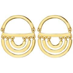 Cadar Twin Drop Earrings, 18 Karat Yellow Gold