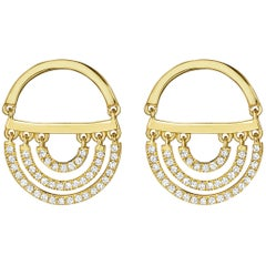 CADAR Twin Drop Earrings, 18K Yellow Gold and White Diamonds