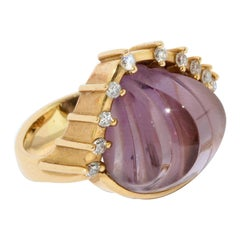Cadeaux Jewelry, 18 Karat Gold Ring Set with Large Amethyst and Diamonds