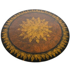 Cado and Mygge Large Brown Lazy Susan Aluminum Tulip Coffee Table
