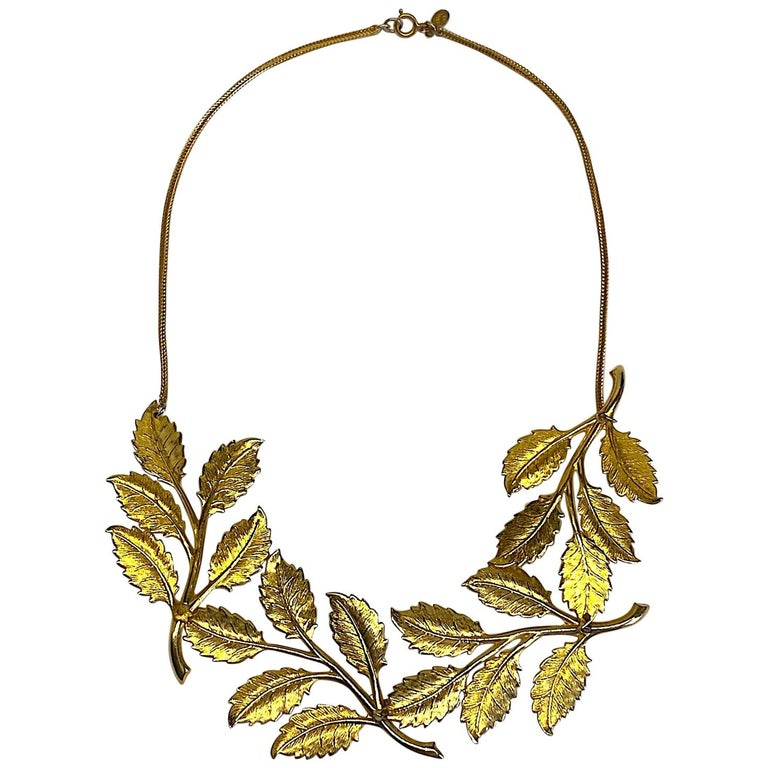Cadoro 1960s Gold Laurel Leaf Victory Neclace For Sale