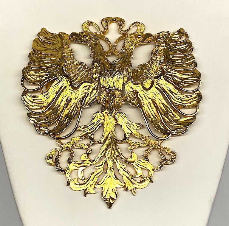 Cadoro 1970s Huge Double Head Eagle Crest Scarf Clip For Sale 8