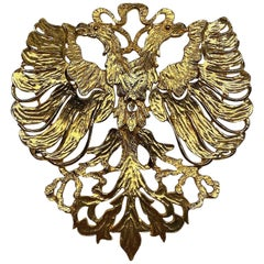 Cadoro 1970s Huge Double Head Eagle Crest Scarf Clip