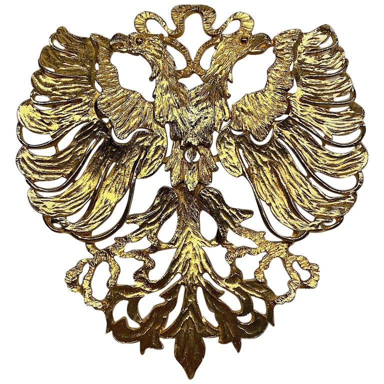 Cadoro 1970s Huge Double Head Eagle Crest Scarf Clip For Sale