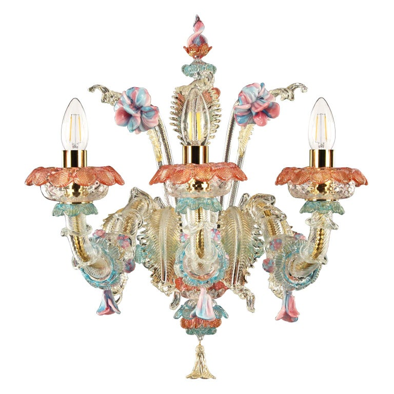 Sconce 3 arms Crystal and Gold, details in Pink and Light Blue by Multiforme For Sale