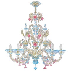 Rezzonico Chandelier 6 arms Clear Murano Turquoise Pink Gold Glass by Multiforme